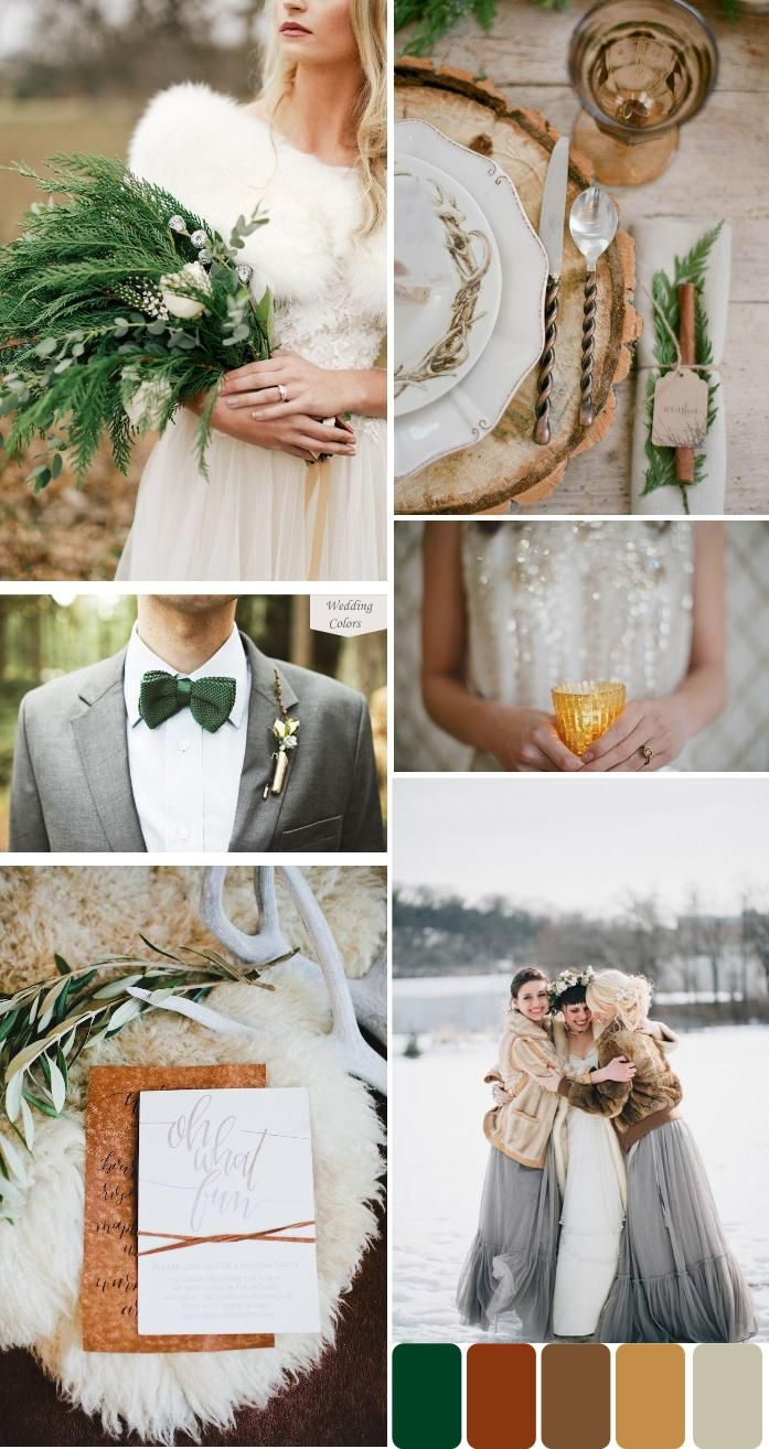 Evergreen, Shades of Brown & Grey Winter Wedding Palette