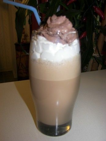 This is a delicious coffee Adult milkshake! The recipe uses Amarula Cream Liquor from South Africa. It is sold at most liquor stores. The frappe looks great in a highball glass with a long stem or large mouth wine goblet. If you love chocolate and coffee... this shake is for you!