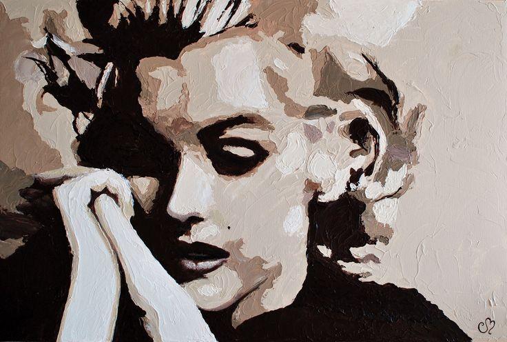 """Acrylique sur toile galerie 36"""" x 24"""" """"SENSIBILITÉ"""" Portrait Marilyn Monroe Artémo par / by Christine Bélanger www.artemo.ca"""