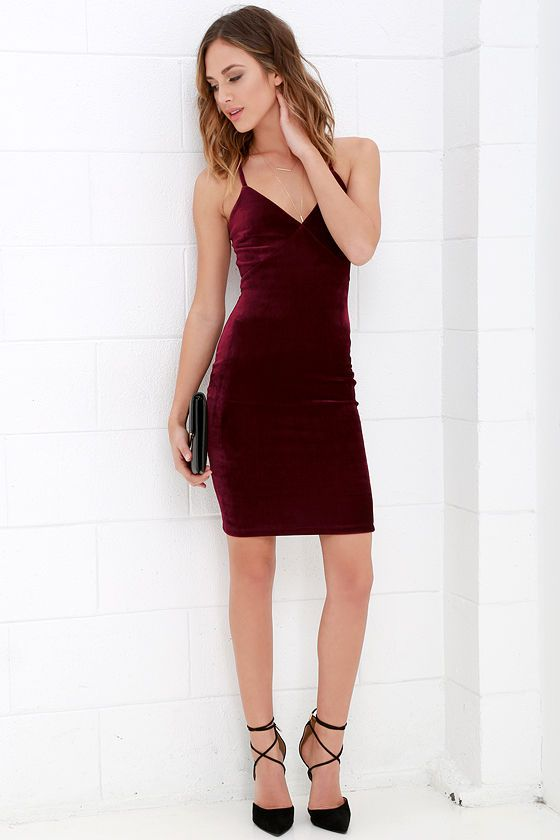 Lulus Exclusive! Make a special night even better when you slip into the Something Special Wine Red Velvet Dress! Lovely velvet knit shapes a sultry bodice with darted cups, and rounded shoulder straps that meet a modified lace racerback (with exposed gold zipper). Open back transitions into a bodycon skirt. Hidden back zipper.