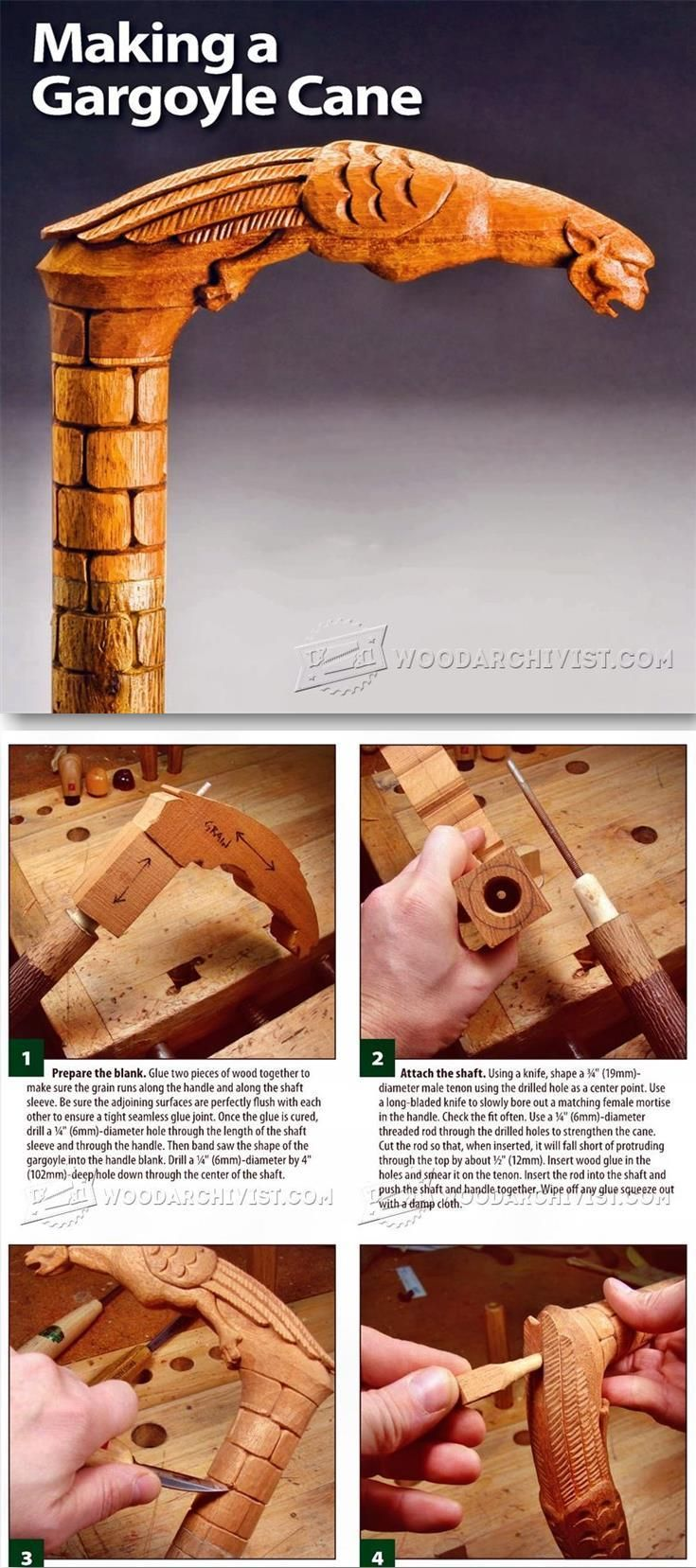 Carving Cane - Wood Carving Patterns and Techniques | WoodArchivist.com
