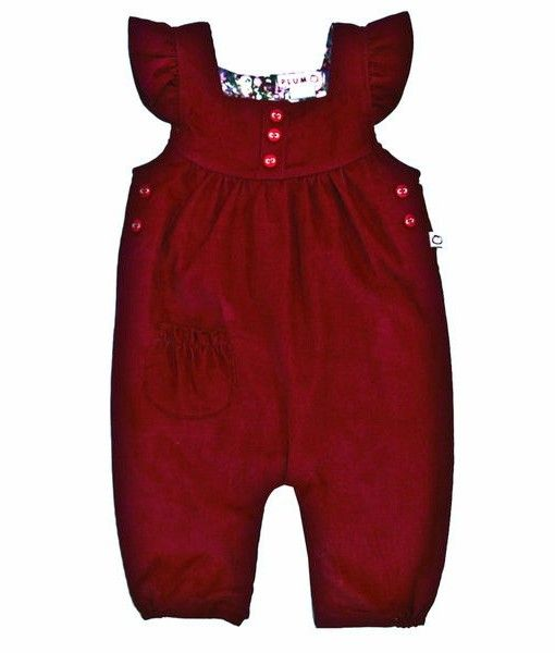 Pin cord dungaree style play suit with pocket detailing.  Made from Cotton.
