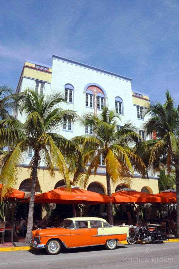 Architecture Photography South Beach, Miami Florida Photo, Art Deco District, Palm Trees, Fine Art Print, Colorful Hotel, Wall Art, Orange by SilverBirdBoutique