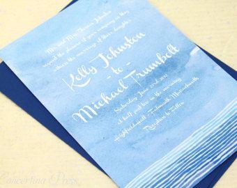 Inviti di nozze oceano acquerello in blu - campione