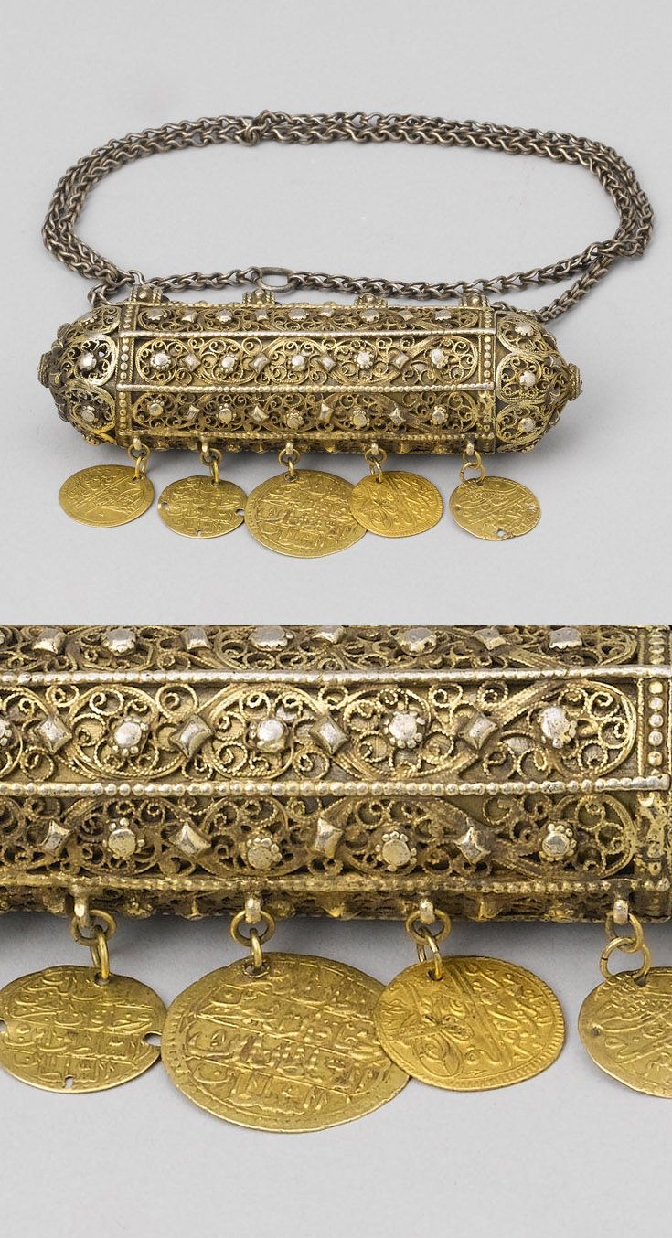 Turkey | Ottoman amulet case / document holder; filigree gold with gold coins | ca. 18th century | Est. 1'000 - 1'500£ ~ (Oct '07)