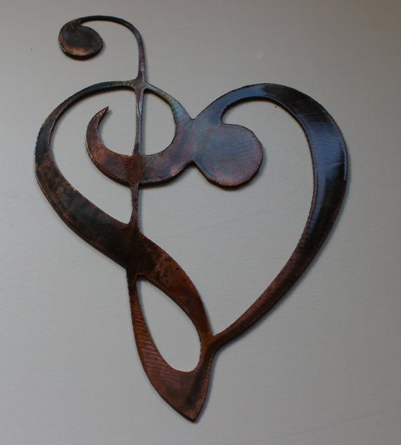 Metal Wall Sculpture Music Notes | Metal Wall Art Decor Music Heart Notes MUSICAL CLEF Mini Version ...