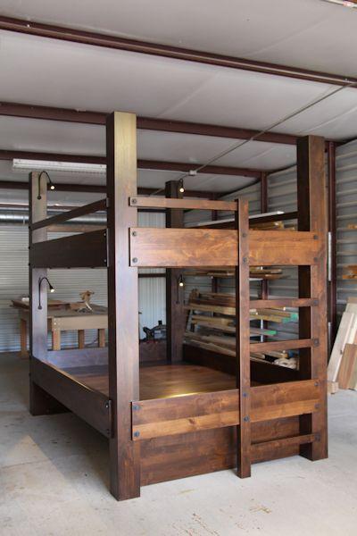 Custom Queen Over Bunk Beds Knotty Alder Construction Gunstock Finish Integrated Ladder