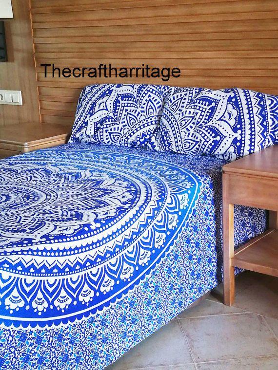 Indian Star Mandala Boho Comforter Cover Bedding Throw Handmade Duvet Cover Pair #Handmade #Traditional