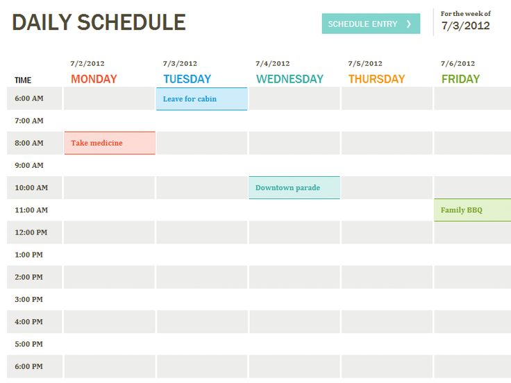 25 best ideas about Daily schedule template – Sample Daily Agenda