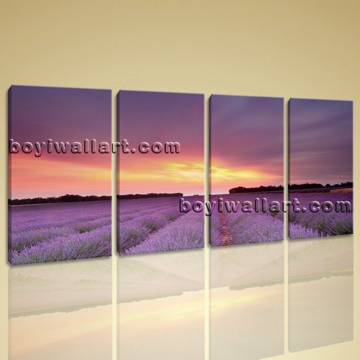 """Large Provence Lavender Fields Landscape Wall Art Giclee Print On Canvas BedRoom, Large sunset Wall Art, Bedroom, Mauve Taupe. Large Provence Lavender Fields Landscape Wall Art Giclee Print On Canvas BedRoom Subject : sunset Style : Photography Panels : 4 Detail Size : 14""""x28""""x4 Overall Size : 59""""x28"""" = 150cm x 71cm Medium : Giclee Print On Canvas Condition : Brand New Frames : Gallery wrapped [FEATURES] Lightweight and easy to hang. High revolution giclee artwork/photograph. Edges are..."""