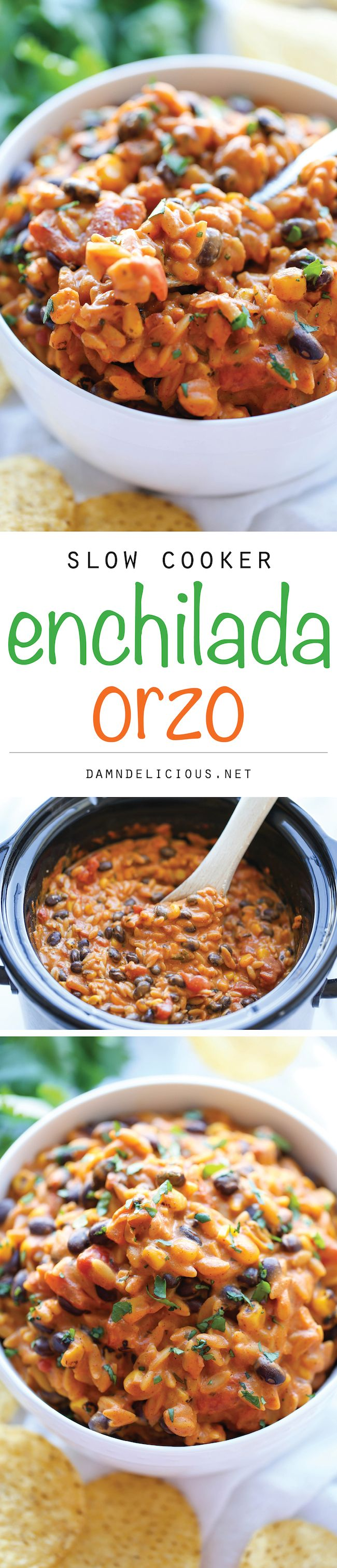 Slow Cooker Enchilada Orzo - The easiest, creamiest enchilada pasta ever. Even the pasta gets cooked right in the crockpot!
