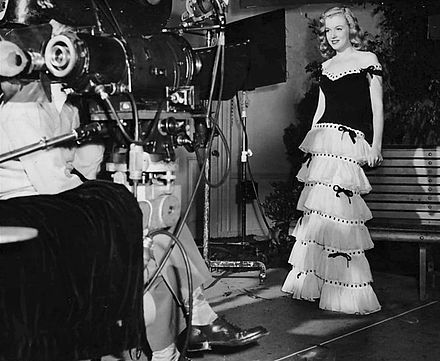 Monroe wearing a dress and facing a movie camera in a publicity photograph taken during her first film contract.