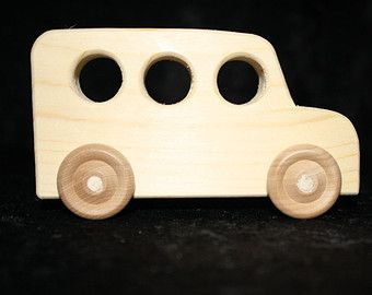 Wood bus wood toy bus toy bus bus unpainted by displayinstyle