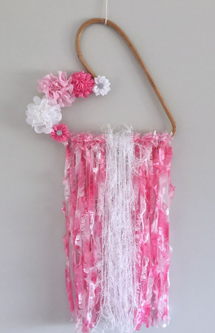 A personal favourite from my Etsy shop https://www.etsy.com/au/listing/501577066/girls-pink-white-wall-hanging-bedroom