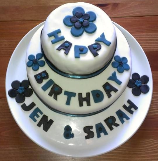 Blue and Navy text Birthday cake