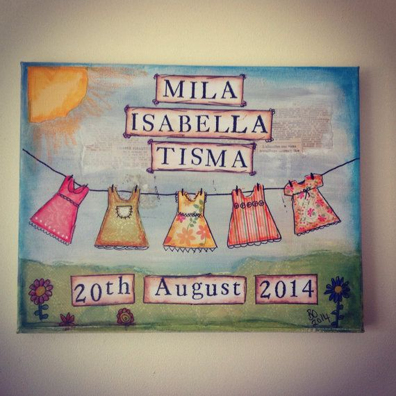 Personalised baby gift canvas personalised baby art by FredAndBo