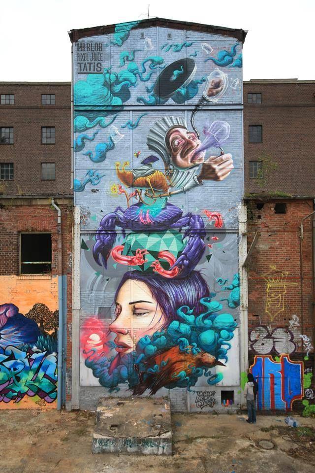 Collab Mr Blob + Pixeljuice + Tatis + Maze - Magdeburg, Germany - Sept 2014