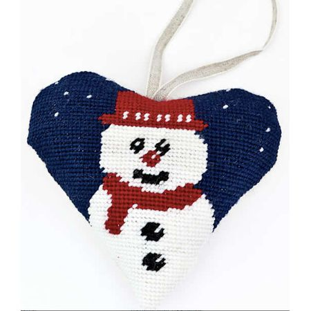 Part of Cleopatra's Needle's range of festive tapestry heart kits, this Snowman tapestry heart kit features a jolly little snowman at the heart of the design.