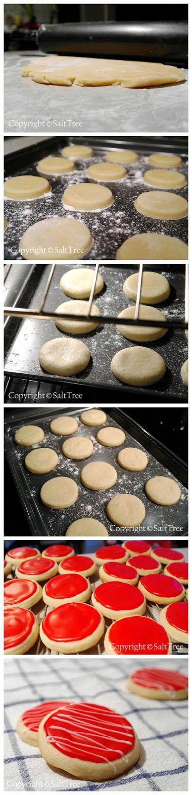 Soft Sugar Cookies 3 cups all-purpose flour 1 teaspoon baking powder 1/2 teaspoon salt 1 cup butter, softened 1 1/2 cups white sugar 2 eggs 2 teaspoons vanilla extract