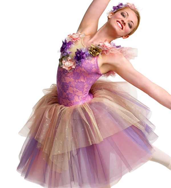 Curtain Call Costumes®   Grand FinalePeach Nylon/spandex Leotard With  Orchid Metallic Lace Bodice