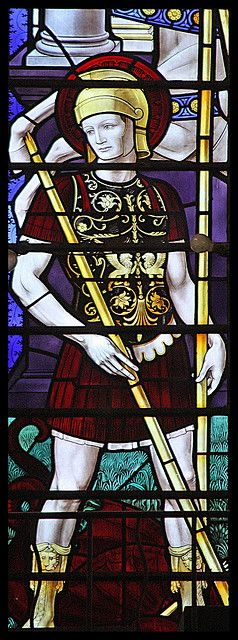 St. George ... detail from the great west window by Sir Ninian Comper in St Alban's Cathedral.