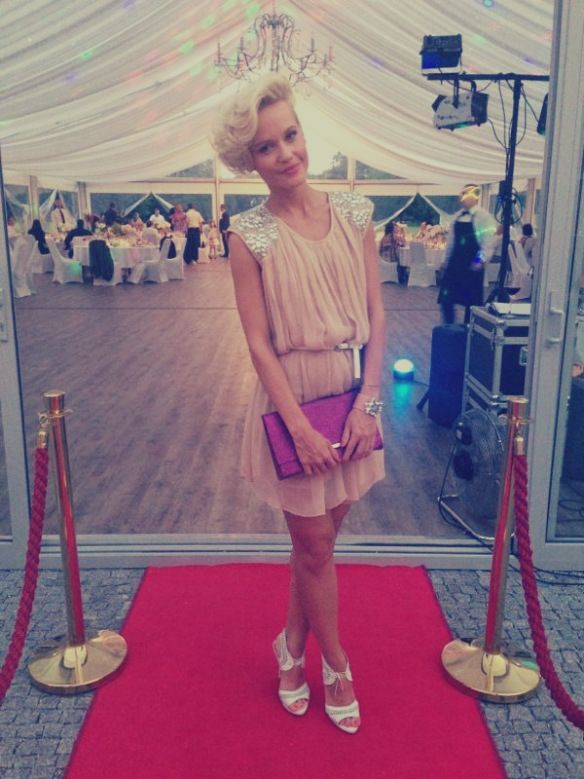 perfect  dress for a wedding in powder pink  by Aftershock London www.janatini.com