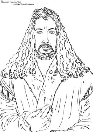 Self Portrait by Albrecht Durer coloring page SCA Kids