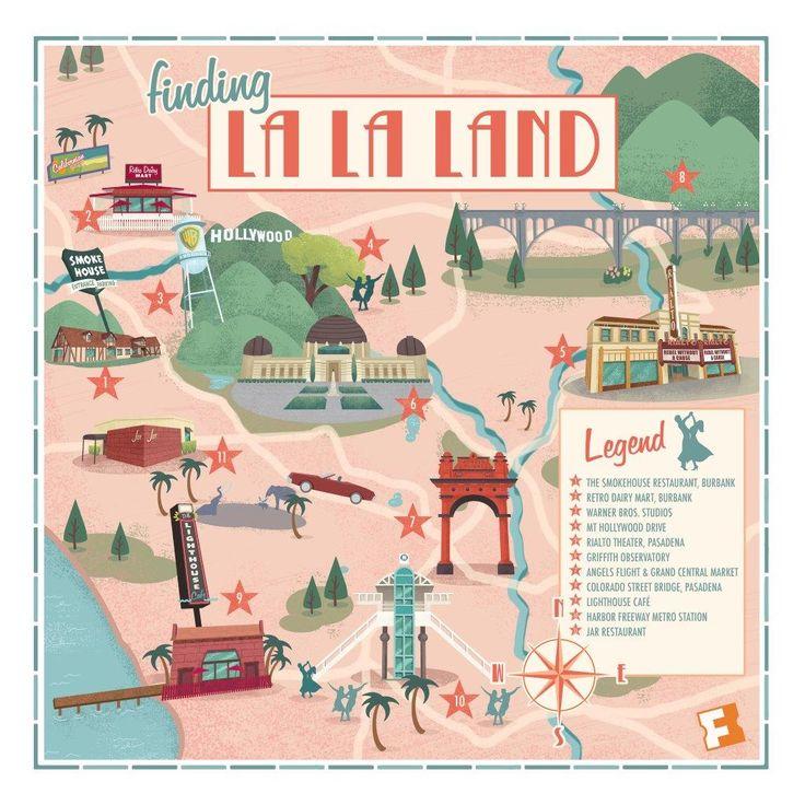This Retro Map Showcases The L.A. Landmarks Of 'La La Land'