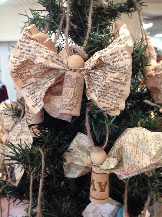 Vintage Paper & Wine Cork Angel Ornament on Etsy, $5.00