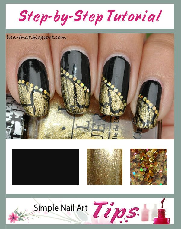 SIMPLE TUTORIAL: ww.SimpleNailArtTips.com - Gold Crackle Diagonal French on Black Nail Art  #nails #nailart #manicure