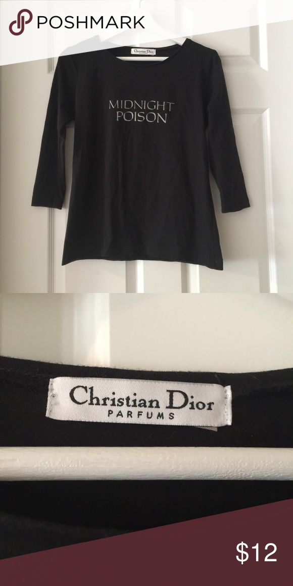 """Christian Dior Parfums T-Shirt Christian Dior Parfums T-Shirt. This looks like a promotional shirt worn by staff to promote Dior Perfume. I thought it was fun and quirky piece and could be worn many ways. Measurements (laying flat and approximate) shoulders: 15"""", bust: 18"""", length 19"""". Christian Dior Tops Tees - Long Sleeve"""