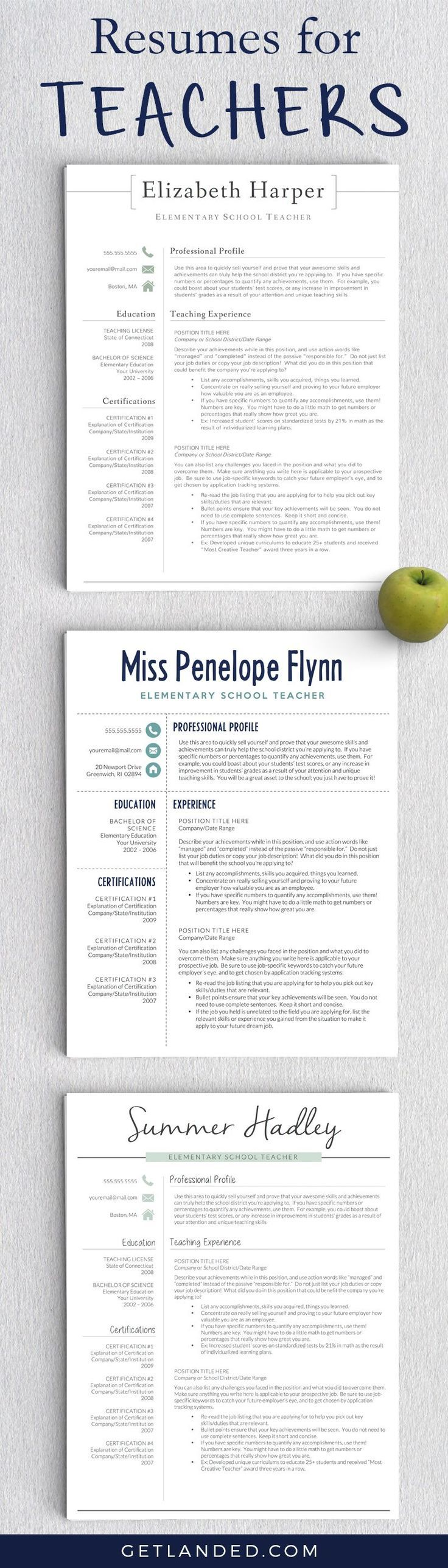 Resumes designed for teachers and educators. Teacher resume | Teacher resume tips | Educator resume