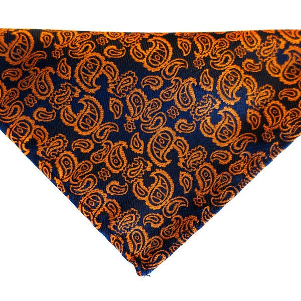 Dapper Orange Pocket Square - Orange coloured paisley adorn the #navyblue on this #pocketsquare, ensuring that you stand out from the crowd.  #Ties #Cufflinks #Australia