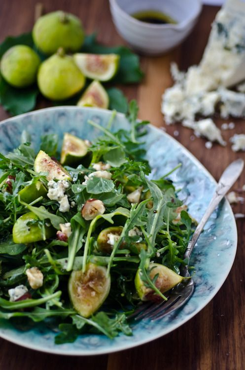 Arugula, fig and blue cheese salad | scaling back: Blue Chee Salad, Chee Salad Lov, Chee Salad I, Chee Fresh, Fruit Recipes, Arugula, Figs And Blue Chee, Favorite Recipes, Blue Cheese Salad