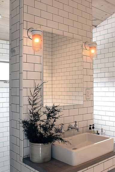 White Ceramic Tiled bathroom