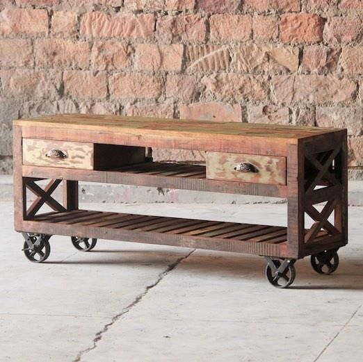 Mary Rose Reclaimed Wood TV Stand On Wheels - Modish Living Reclaimed Wood Furniture