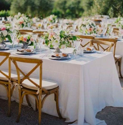 Beautiful classic dining with cross back teak chairs