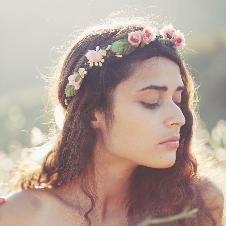 Bridal flower crown, Pink floral wreath, Flower cr…