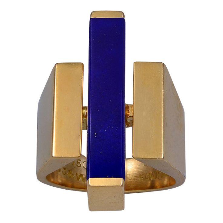 Georg Jensen  Gold and Lapis Lazuli Ring 1960s
