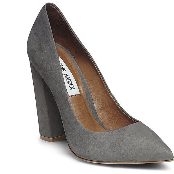 Steve Madden Women's Primpy Pumps (€88) ❤ liked on Polyvore featuring shoes, pumps, heels, grey nu, chunky heel shoes, high heel pumps, thick high heel pumps, wide heel pumps and grey shoes