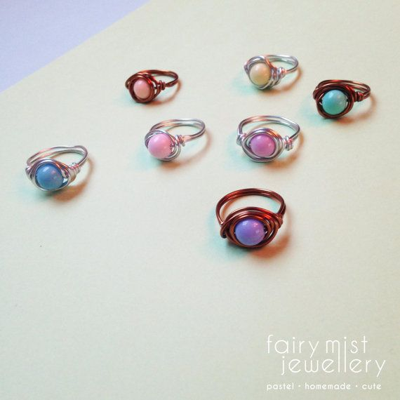 Pastel Wire Wrapped Ring Silver or Bronze by fairymistjewellery