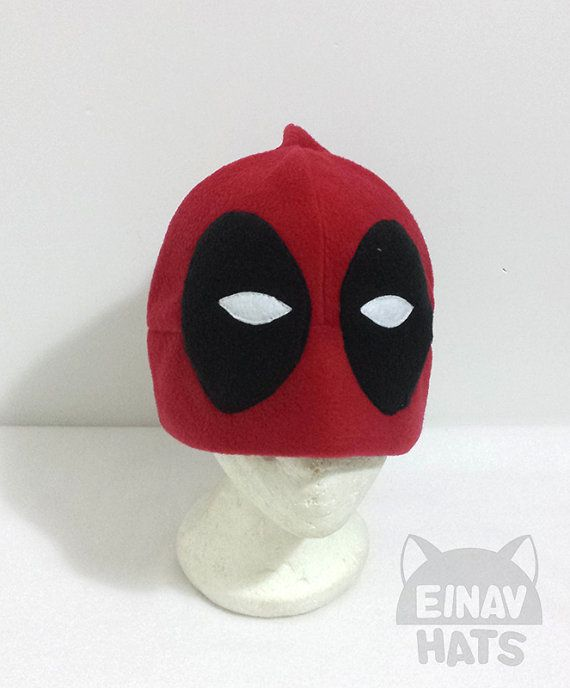 Deadpool Inspired FREE SHIPPING WORLDWIDE! Comic book Marvel geek nerd red black fleece hat Great as cosplay costume for convention