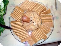 Turtle Cheesecake Cheese Ball... serve with graham crackers, apple slices.  NOTE:  Makes a 2-cup ball (Cut the recipe in half for a regular sized dessert ball.)