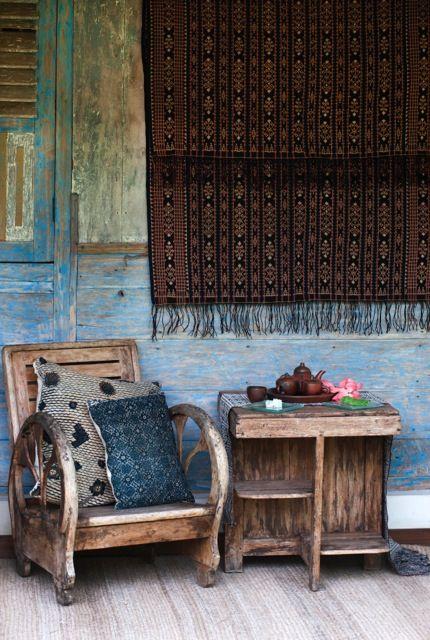 Batik cushions from Threads of Life and Ikat wall hanging. Shot at the beautiful Umajati Retreat in Ubud, Bali