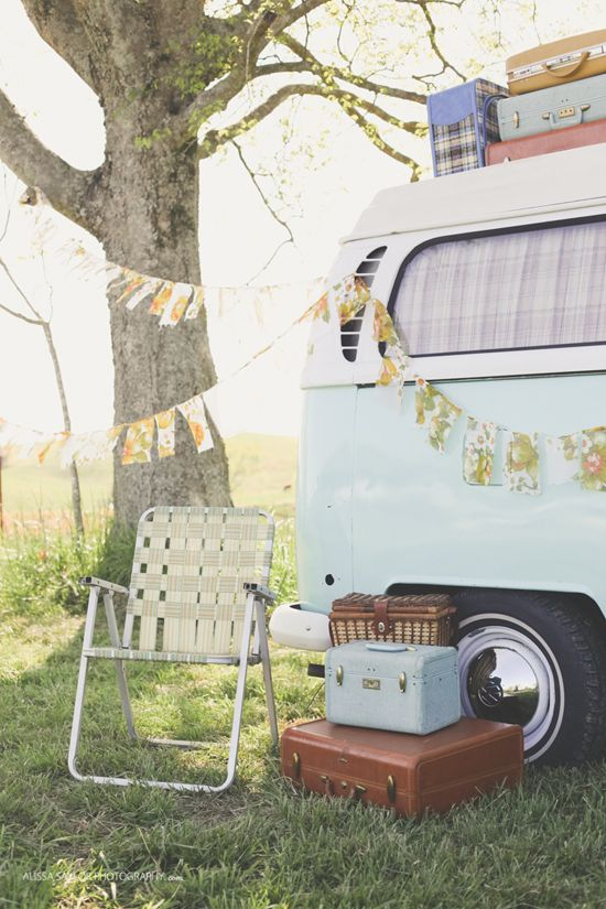 Vintage VW van camper styling by Stockroom Vintage for The Strawberry Patch Barn Sale | Photos by Alissa Saylor