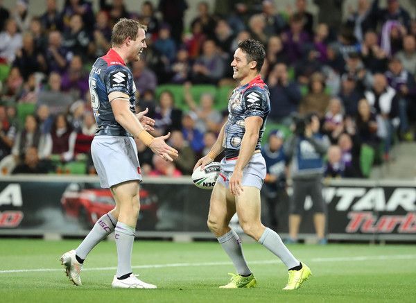 Cooper Cronk Photos Photos - Cooper Cronk of the Melbourne Storm is congratulated by Tim Glasby of the Melbourne Storm after scoring a try during the round five NRL match between the Melbourne Storm and the Penrith Panthers at AAMI Park on April 1, 2017 in Melbourne, Australia. - NRL Rd 5 - Storm v Panthers