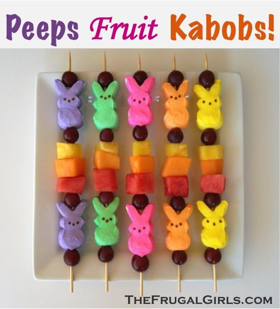 Peeps Fruit Kabobs!  {perfect for your Easter brunch or party!} ~ from TheFrugalGirls