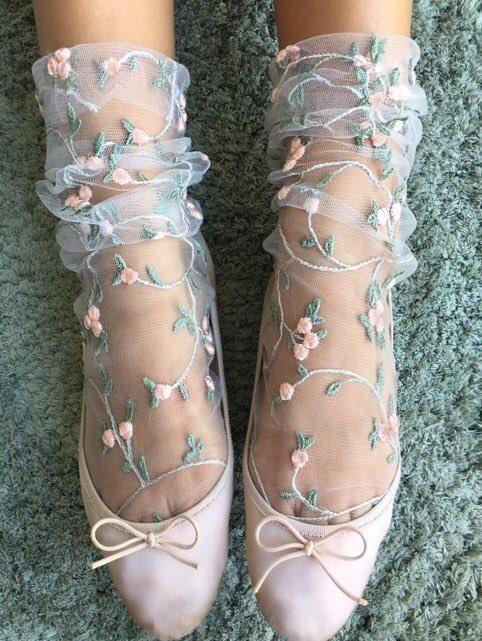 Blumen Tüll Socken