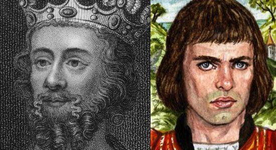 Eduardo II principe de Inglaterra (izq), siempre fue un amanerado, que gustaba vestir con ropa de mujer. Nunca ocultó su amor, por Pierce Gaviston (der) a quien dirigía cartas de amor y colmaba con regalos.  El rey Eduardo I, preocupado por los rumores, decide desterrar a Pierce, hacia Francia, con una jugosa cantidad de dinero, con tal de mantener a los dos amantes separados.  Mientras golpea a Eduardo y lo trata de marica, delante de la nobleza.