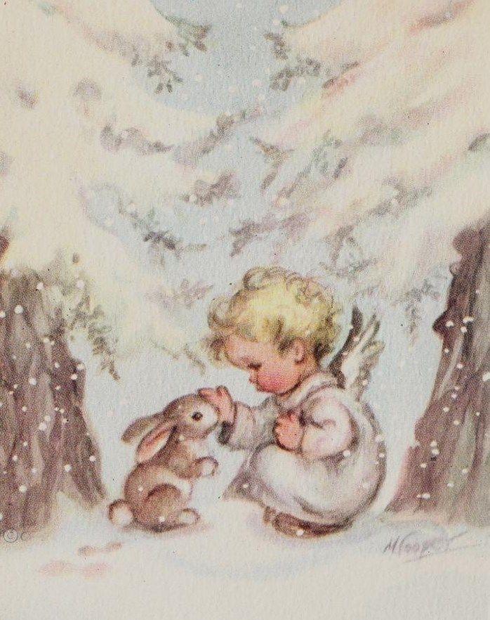 Vintage Christmas Card - Baby Angel and Snow Bunny Rabbit - Unused Rust Craft…